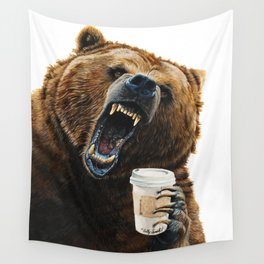 """"""" Grizzly Mornings """" give that bear some coffee Wall Tapestry"""