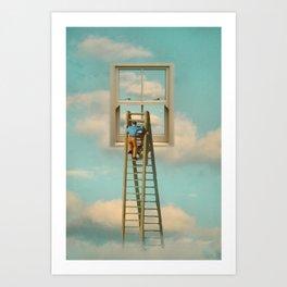 Window cleaner in the sky 02 Art Print