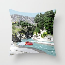 Shotover River, Queenstown, New Zealand Throw Pillow