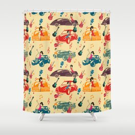 Rockabilly Mania Hot Rods and Pin Ups Shower Curtain