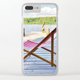 Red deck chair Clear iPhone Case