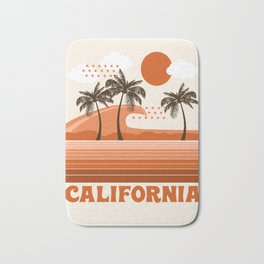 California - retro 70s 1970's sun surfing beach throwback minimal design Bath Mat