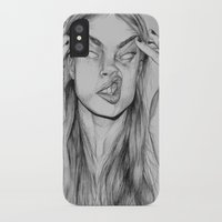 cara iPhone & iPod Cases featuring Cara by David Pérez