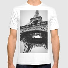 Eiffel Tower White SMALL Mens Fitted Tee