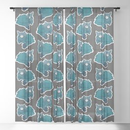 Blue Cat in The Dark | Simple Modern Watercolor Pattern Sheer Curtain