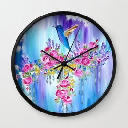 Roses and Hummingbirds in Love Wall Clock