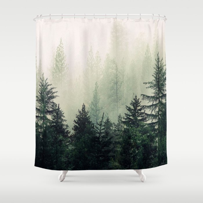Foggy Pine Trees Shower Curtain