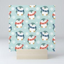 Winter penguins pattern Mini Art Print