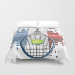 Racquet Eiffel Tower with French flag colors in background Duvet Cover
