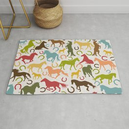 Seamless background with horses silhouettes and horseshoes Rug