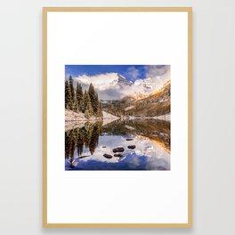 Maroon Bells Autumn Mountain Reflective Landscape - 1x1 Square Format Framed Art Print
