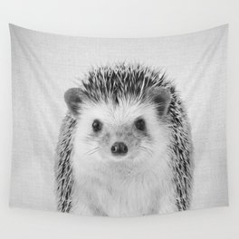 Hedgehog - Black & White Wall Tapestry