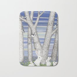 nuthatches, bunnies, and birches Bath Mat