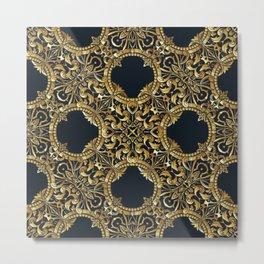 Black Gold Rococo Pattern Metal Print