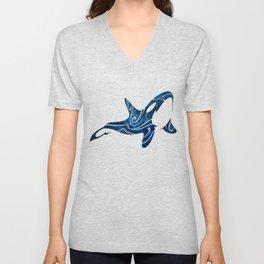 Tribal Orca 2 (blue) Unisex V-Neck