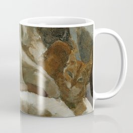 Morning Visitor Oil Painting Interior Sleeping Woman with Cat Coffee Mug