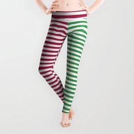 Christmas Minimal Stripes Red Green White Leggings
