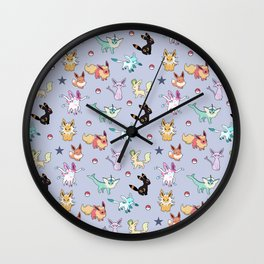 Eeveeloution Pattern Wall Clock