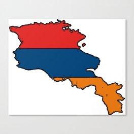 Armenia Map with Armenian Flag Canvas Print