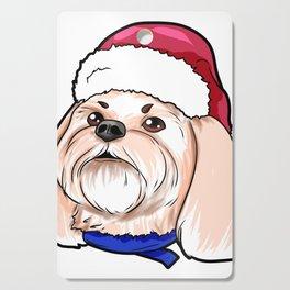 Shih Tzu Dog Christmas Hat Present Cutting Board