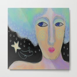 Wishing on a Star Abstract Digital Painting  Metal Print