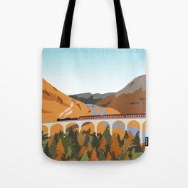 Train on the Glenfinnan Viaduct, Scottish Highlands, Scotland Tote Bag