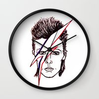aladdin Wall Clocks featuring Bowie Aladdin by Diego La Diabla