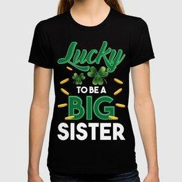 Cute Big sister st Patricks Day Announcement T-shirt