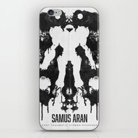 psychology iPhone & iPod Skins featuring Samus Aran Metroid Geek Psychological Diagnosis Ink Blot  by Barrett Biggers