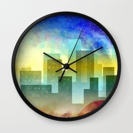 Colorful night digital illustration II. Wall Clock