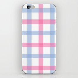 Pink and Blue Gingham iPhone Skin