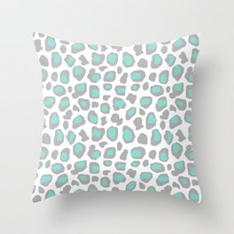 Leopard Animal Print Aqua Blue Gray Grey Spots Throw Pillow
