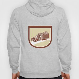 Vintage Pickup Truck Delivery Harvest Shield Retro Hoody