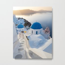 Blue domes of Santorini island during a calm sunrise | Travel photography Greece Metal Print