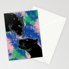 Panthers with palm leaves Stationery Cards