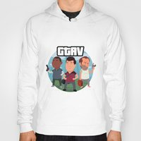 grand theft auto Hoodies featuring Grand Theft Auto V Cartoon by Aaron Lecours