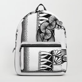 Zentangle B Monogram Alphabet Initial Backpack