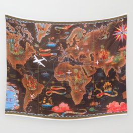 World map wall art 1948 dorm decor mappemonde air france Wall Tapestry
