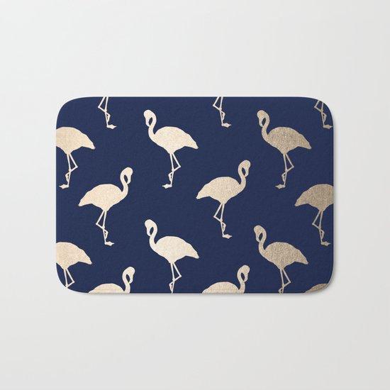 Gold Flamingo Pattern Navy Blue Bath Mat