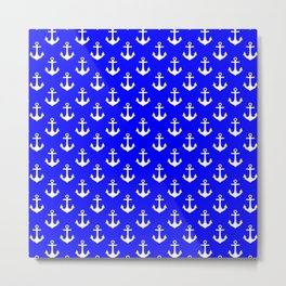 Anchors (White & Blue Pattern) Metal Print