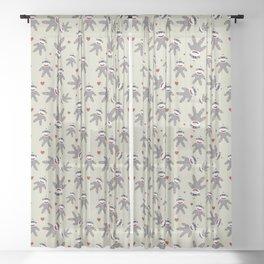 Sock Monkey Pattern On Tan Sheer Curtain