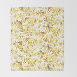 Palm Leaves_Gold and White Throw Blanket