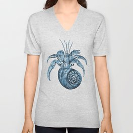 Fish nautical sea blue watercolor Unisex V-Neck