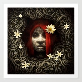 Red Hair with Flowers Art Print