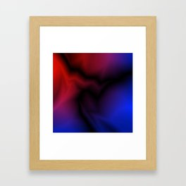 Cosmic sparkling hole of blue zigzags and red spots. Framed Art Print