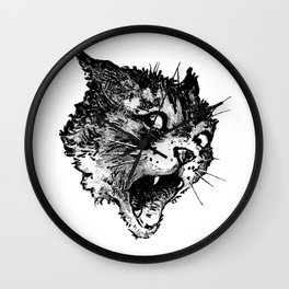 Freaky Cat B&W / Late 19th century illustration of very surprised cat Wall Clock