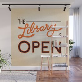 The Library is Open Wall Mural