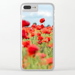 Field with red papavers Clear iPhone Case