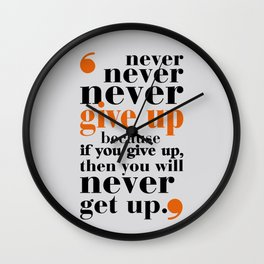 Lab No. 4 - Never give up in your life Gym Motivational Quotes Poster Wall Clock