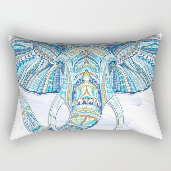 Blue Ethnic Elephant Rectangular Pillow